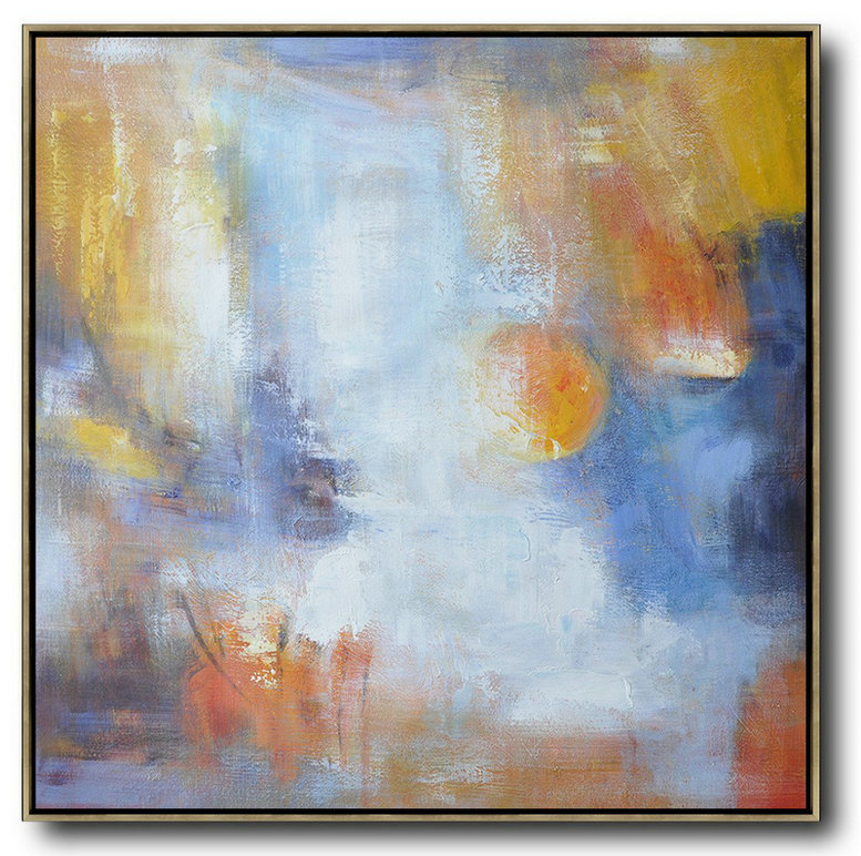 Extra Large Acrylic Painting On Canvas,Oversized Square Abstract Art,Large Canvas Wall Art For Sale,Red,White,Yellow,Blue.etc