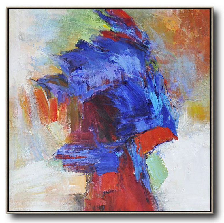 Large Abstract Painting,Oversized Square Abstract Art,Giant Canvas Wall Art,Blue,Red,Orange.etc