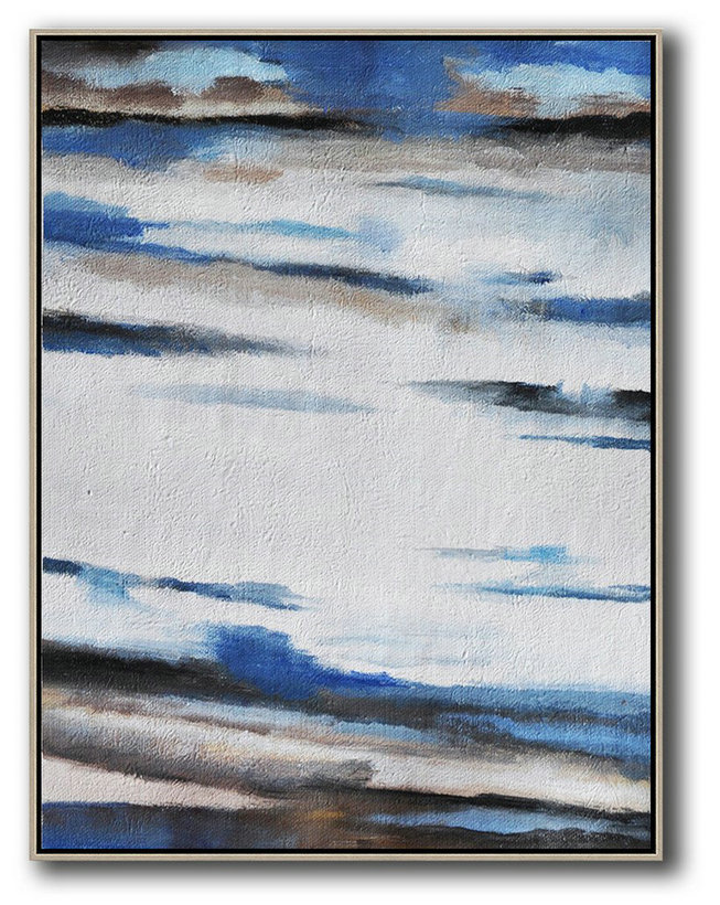 Large Abstract Art,Oversized Abstract Landscape Painting,Acrylic Minimailist Painting,Blue,White,Grey,Brown.etc