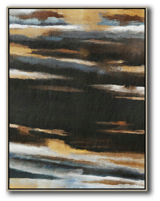 Large Abstract Art Handmade Oil Painting,Oversized Abstract Landscape Painting,Hand Paint Large Art,Yellow,Grey,Black,White.etc
