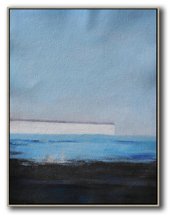 Huge Abstract Painting On Canvas,Oversized Abstract Landscape Painting,Modern Canvas Art,Grey,White,Blue,Black.etc