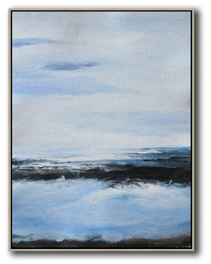 Extra Large Acrylic Painting On Canvas,Oversized Abstract Landscape Painting,Artwork For Sale,Grey,Blue,White,Black.etc
