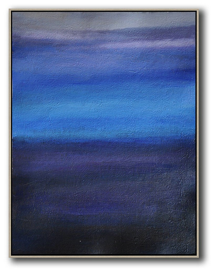 Large Abstract Art Handmade Oil Painting,Oversized Abstract Landscape Painting,Oversized Custom Canvas Art,Blue,Dark Blue,Grey.etc