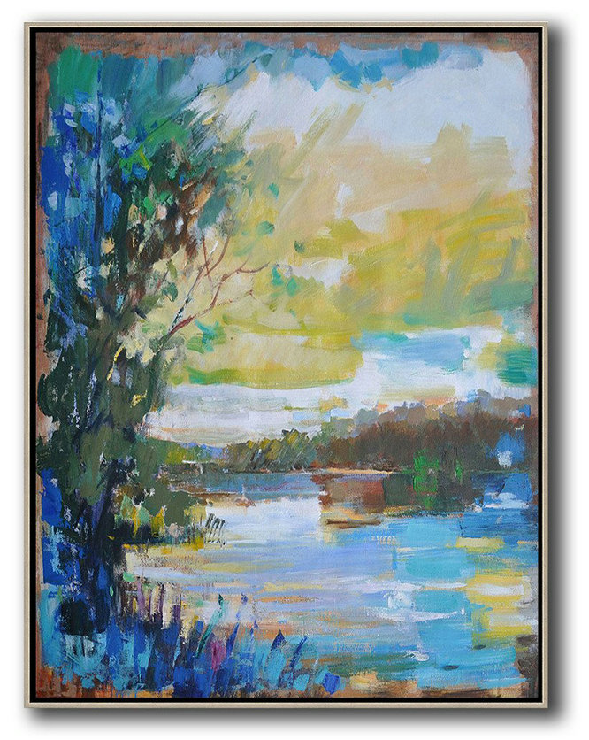 Original Extra Large Wall Art,Oversized Abstract Landscape Painting,Large Oil Canvas Art,Blue,Yellow,White.etc