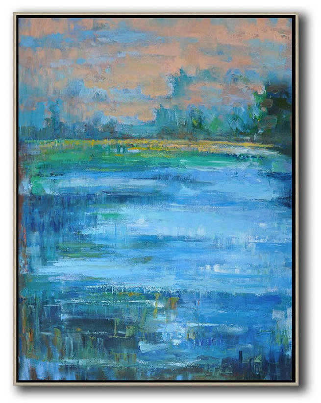 Extra Large Canvas Art,Oversized Abstract Landscape Painting,Hand Painted Original Art,Pink,Blue,Green.etc