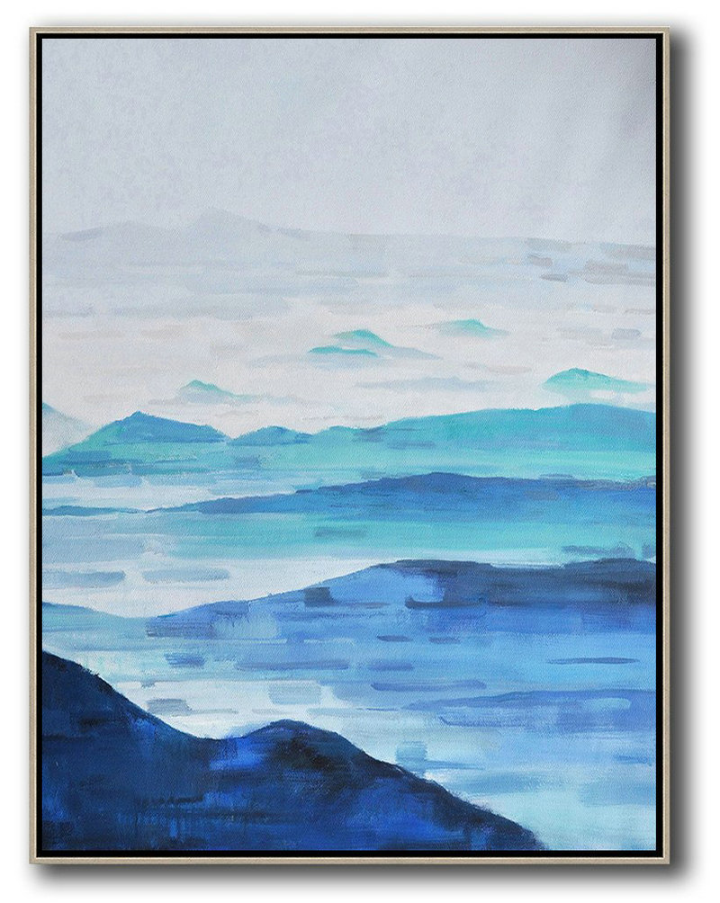 Large Abstract Art,Oversized Abstract Landscape Painting,Acrylic Painting On Canvas,Grey,White,Dark Blue,Blue.etc