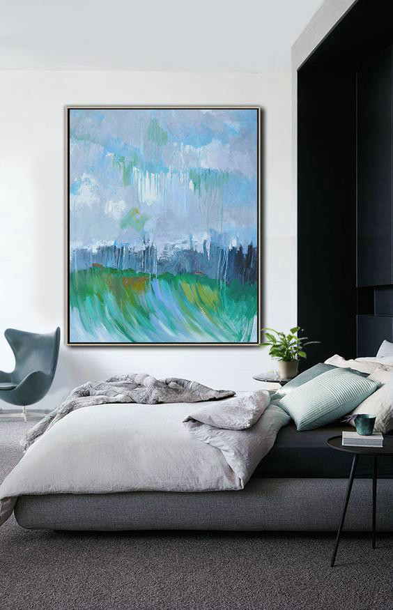 Abstract Painting Extra Large Canvas Art,Oversized Abstract Landscape Painting,Large Abstract Wall Art,Violet Ash,Dark Blue,Green .etc