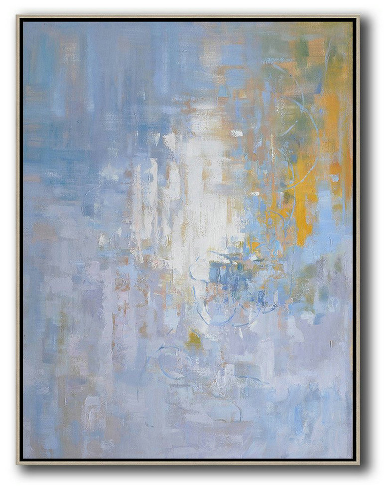 "Extra Large 72"" Acrylic Painting,Oversized Abstract Landscape Painting,Large Living Room Wall Decor,Blue,White,Yellow,Grey.etc"