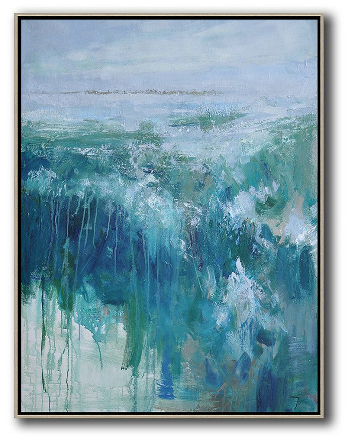 Original Artwork Extra Large Abstract Painting,Oversized Abstract Landscape Painting,Wall Art Ideas For Living Room,Grey,Dark Blue,White,Green.etc