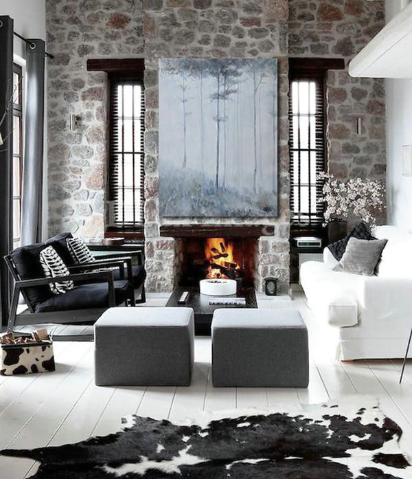 Oversized Canvas Art On Canvas,Oversized Abstract Landscape Painting,Huge Abstract Canvas Art,White,Grey,Black.etc