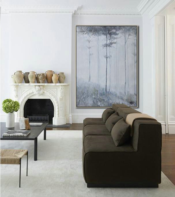 Oversized Canvas Art On Canvas,Oversized Abstract Landscape Painting,Huge Abstract Canvas Art,White,Grey,Black.etc - Click Image to Close