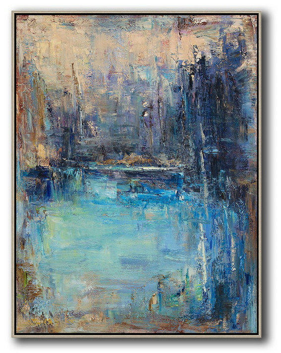 Extra Large Abstract Painting Yellow,Blue,Dark Blue.etc