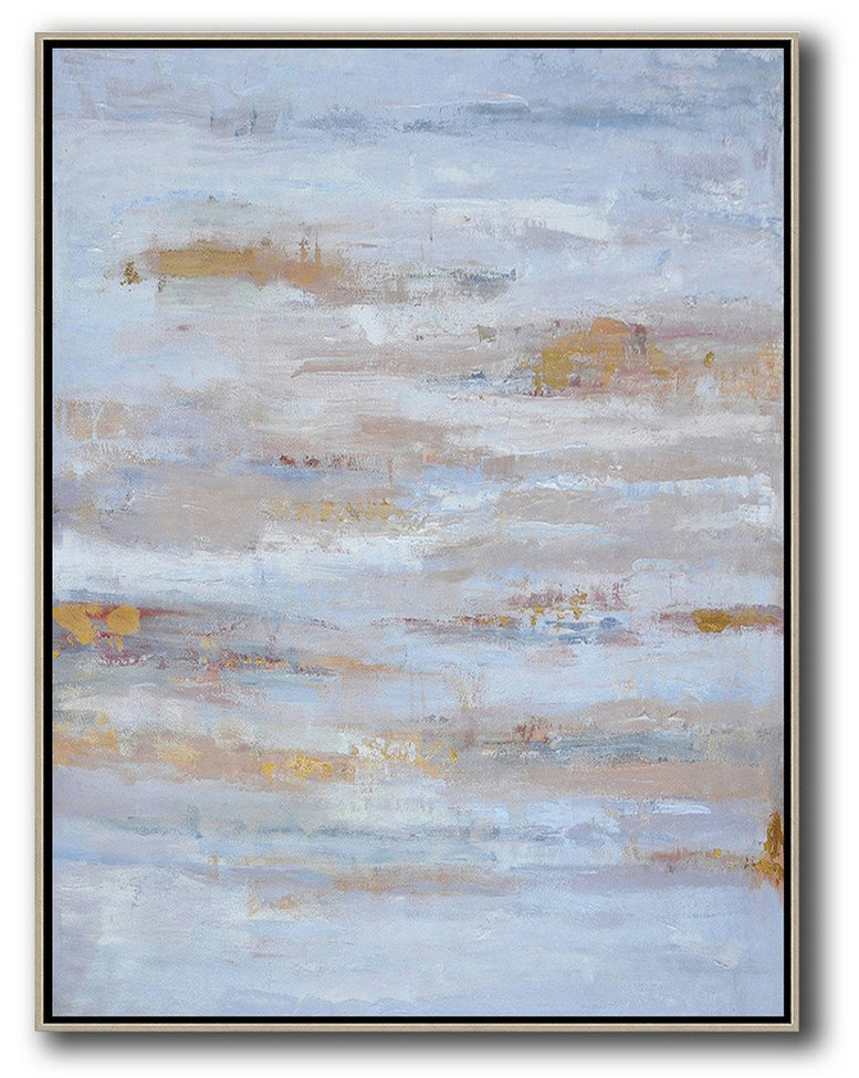 Large Abstract Art,Oversized Abstract Landscape Painting,Hand Made Original Art,Blue,Grey,Gold.etc