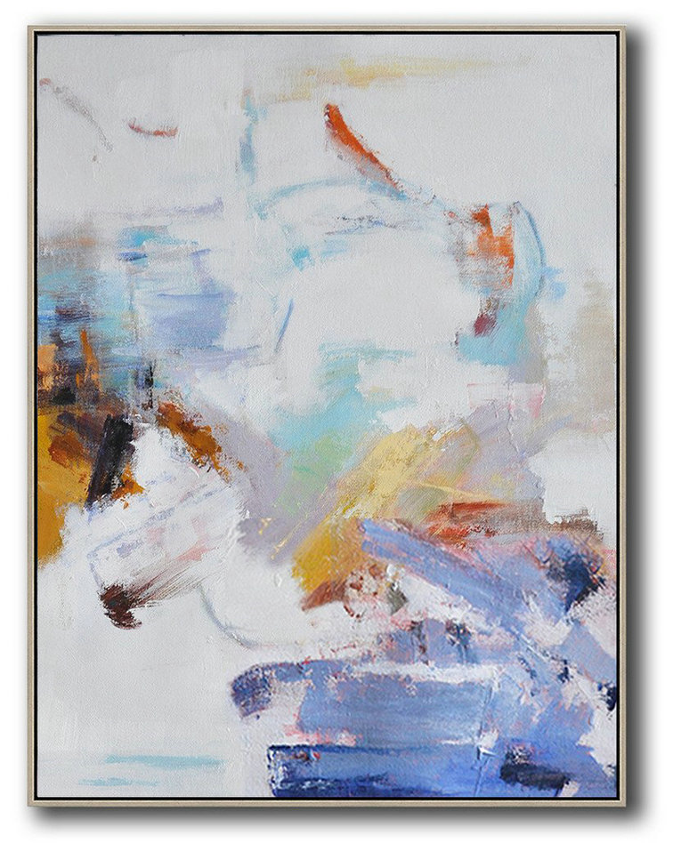 Large Abstract Painting Canvas Art,Oversized Abstract Landscape Painting,Large Wall Art Canvas,Grey,White,Blue,Yellow.etc