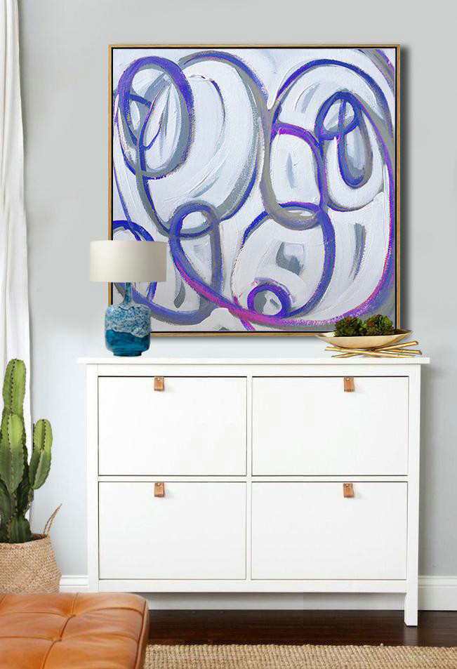 Large Abstract Painting On Canvas,Oversized Palette Knife Painting Contemporary Art On Canvas,Acrylic Painting On Canvas,White,Blue,Pink.etc
