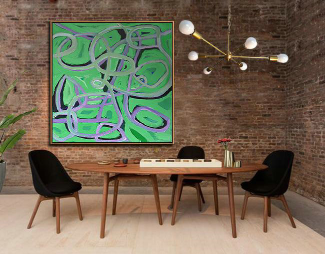 Extra Large Painting,Oversized Palette Knife Painting Contemporary Art On Canvas,Large Wall Art Home Decor,Light Green,Purple,Black.etc