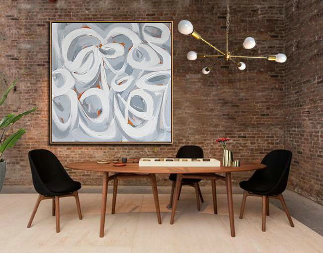 Abstract Painting Extra Large Canvas Art,Oversized Palette Knife Painting Contemporary Art On Canvas,Living Room Wall Art,Violet Grey,White,Orange.etc