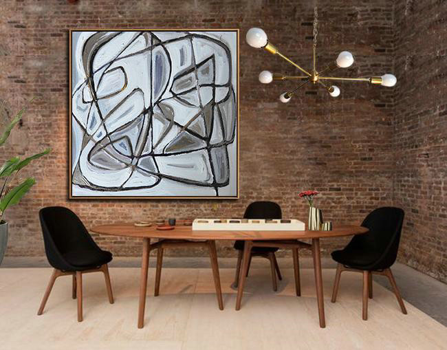 Large Abstract Art,Oversized Palette Knife Painting Contemporary Art On Canvas,Hand Paint Large Clean Modern Art,Gold,Black,White,Yellow.etc