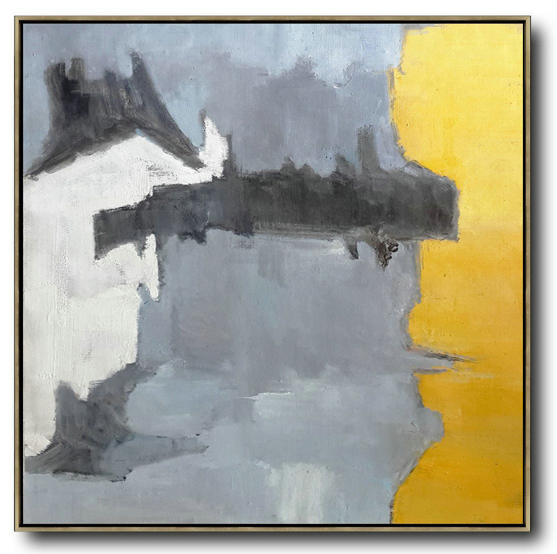 Large Abstract Art Handmade Painting,Oversized Contemporary Art,Hand Paint Abstract Painting,Yellow,Grey,White,Black.etc