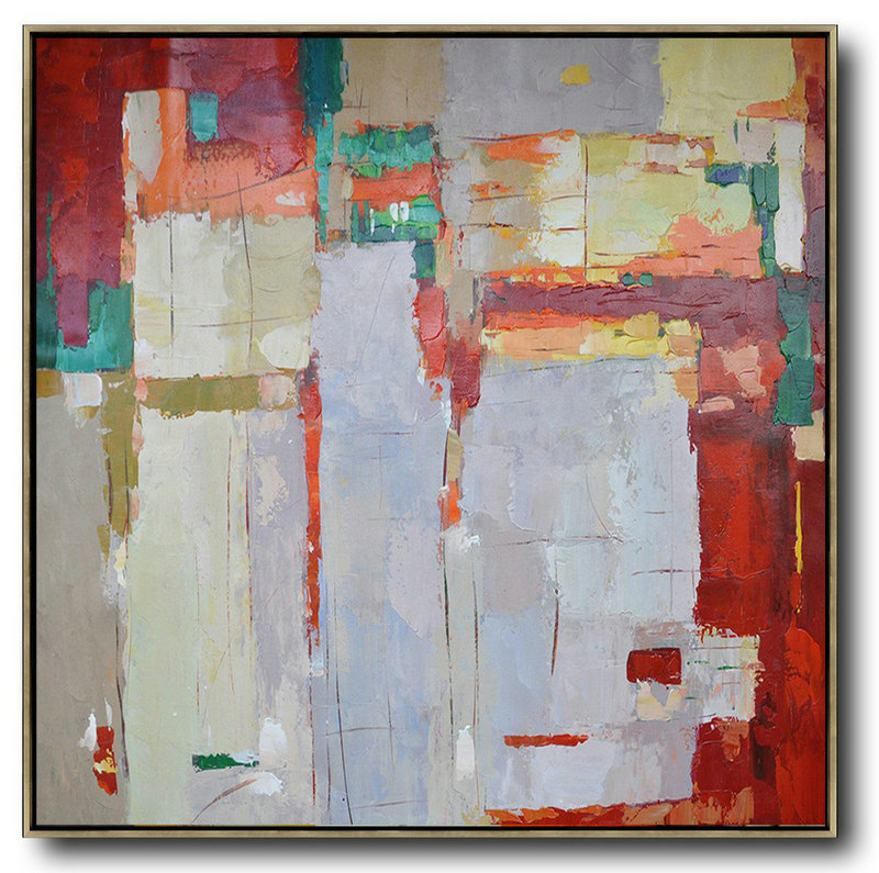 Original Abstract Painting Extra Large Canvas Art,Oversized Contemporary Art,Large Living Room Decor,Red,Orange,Purple,Green,Yellow.etc - Click Image to Close