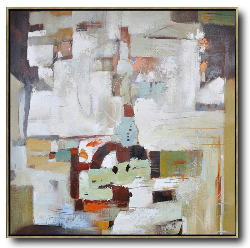 Large Abstract Art,Oversized Contemporary Art,Multicolor Abstract Painting,Brown,White,Red,Dark Green.etc