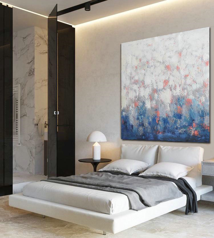 Extra Large Textured Painting On Canvas,Oversized Contemporary Art,Large Oil Canvas Art,Blue,Taupe,White,Pink.etc
