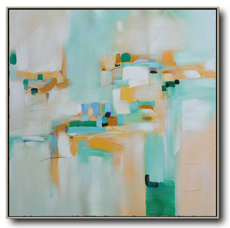 Hand Made Abstract Art,Oversized Contemporary Art,Abstract Artwork Online,Green,Yellow,Blue,White.etc