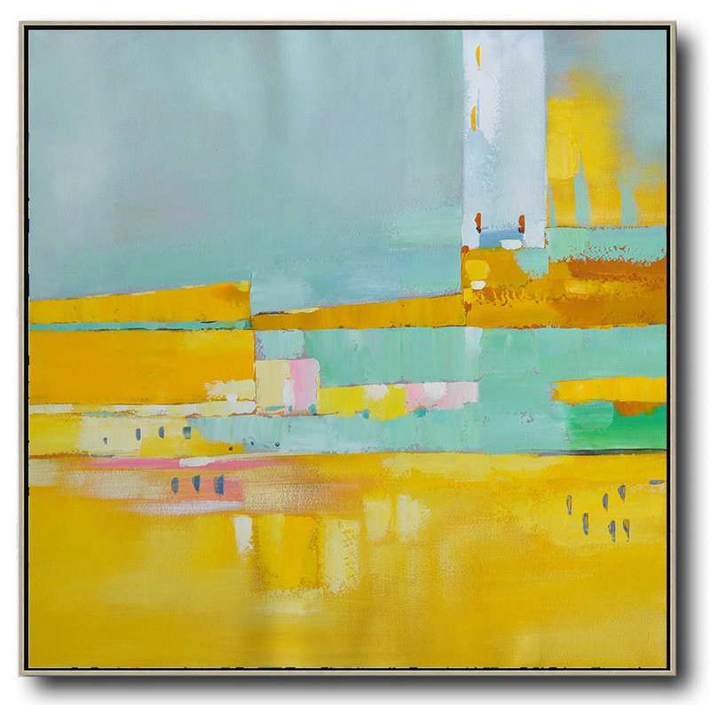 Handmade Large Painting,Oversized Contemporary Art,Abstract Painting For Home,Yellow,Sky Blue,Pink,White.etc
