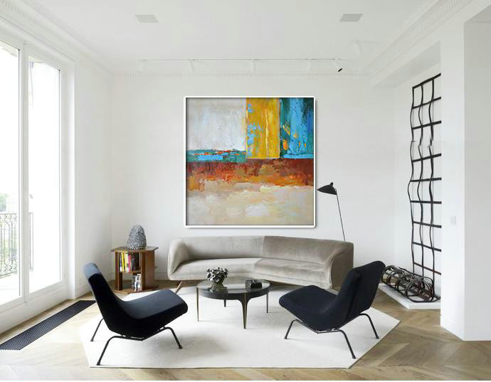 Extra Large Abstract Painting On Canvas,Oversized Contemporary Art,Custom Oil Painting,Blue,Yellow,Orange,Dark Green.etc
