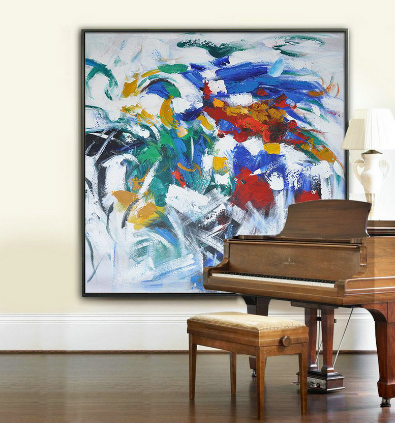 Large Abstract Art,Oversized Contemporary Art,Original Abstract Painting Canvas Art,Blue,Red,Orange,White.etc