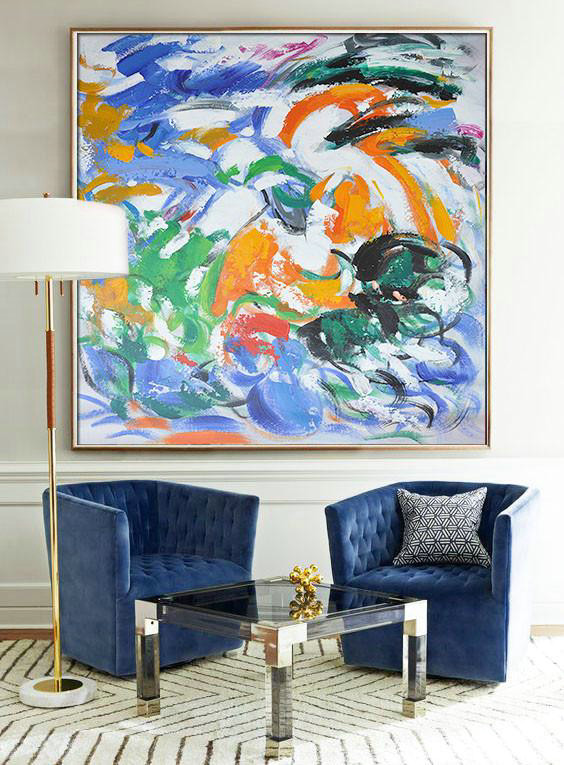 Abstract Painting Extra Large Canvas Art,Oversized Contemporary Art,Extra Large Wall Art,Blue,Orange,Yellow,Green.etc