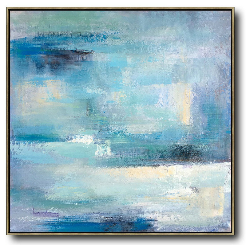 Extra Large Abstract Painting On Canvas,Oversized Contemporary Art,Modern Art Abstract Painting,Sky Blue,Violet,White,Nude.etc