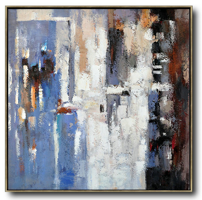 "Extra Large 72"" Acrylic Painting,Oversized Contemporary Art,Large Canvas Art,Modern Art Abstract Painting,Blue,White,Brown,Red.etc"
