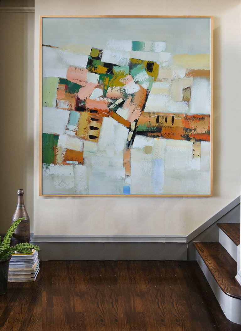 Extra Large Acrylic Painting On Canvas,Oversized Contemporary Art,Large Contemporary Painting,Grey,Orange,Green,Yellow.etc