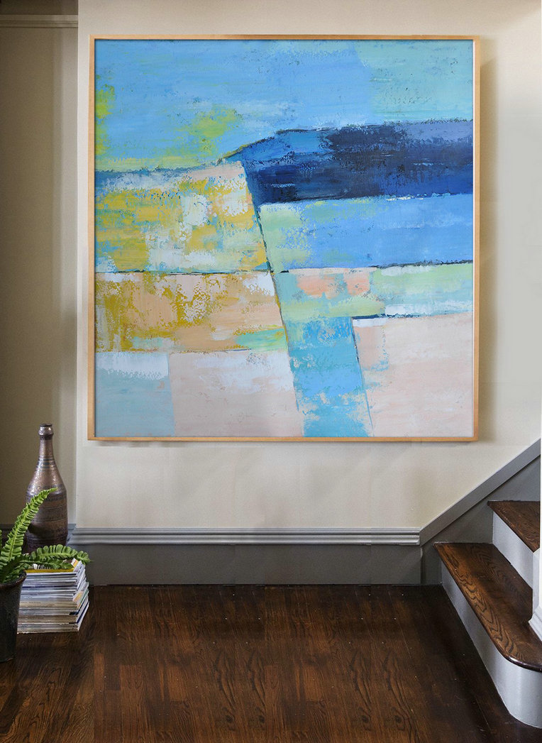 Original Artwork Extra Large Abstract Painting,Oversized Contemporary Art,Huge Abstract Canvas Art,Blue,Pink,Yellow,Grass Green.etc