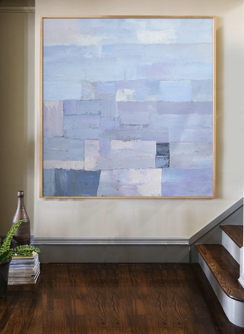 Extra Large Acrylic Painting On Canvas,Oversized Contemporary Art,Acrylic Painting Large Wall Art,Violet Ash,Grey,Blue.etc