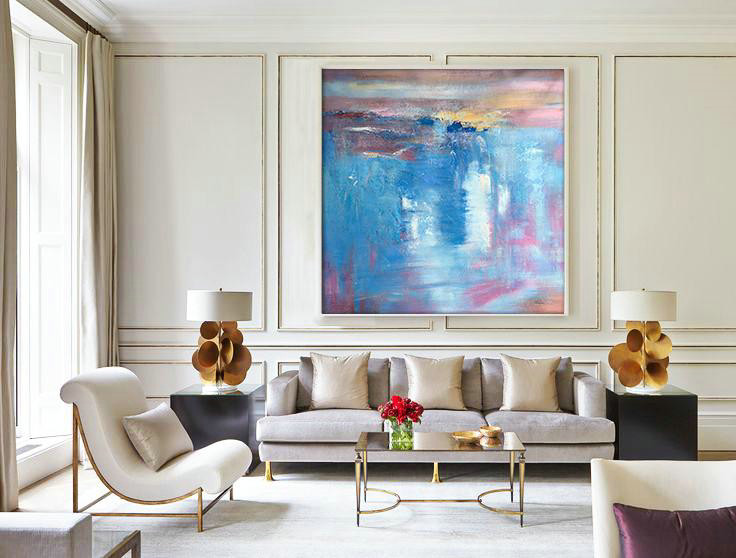 Original Abstract Painting Extra Large Canvas Art,Oversized Contemporary Art,Big Canvas Painting,Blue,White,Pink,Purple.etc