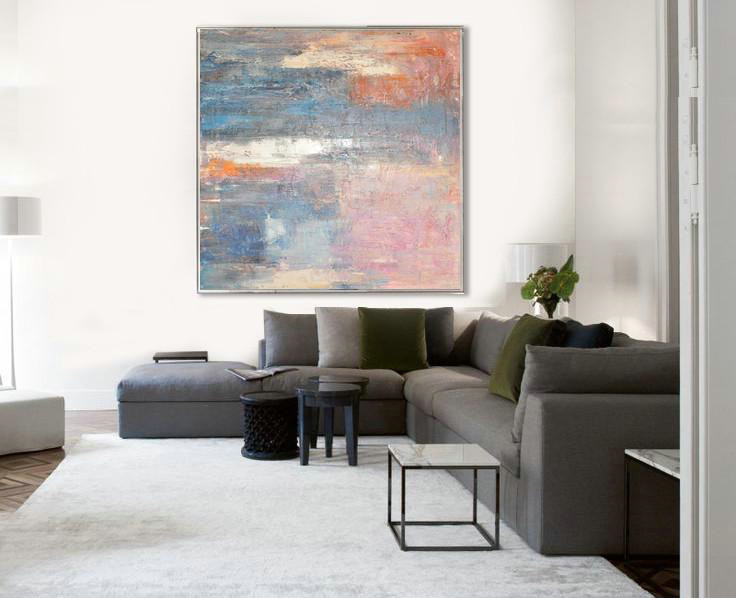 Large Modern Abstract Painting,Oversized Contemporary Art,Original Art Acrylic Painting,Pink,Blue,Orange,Beige.etc