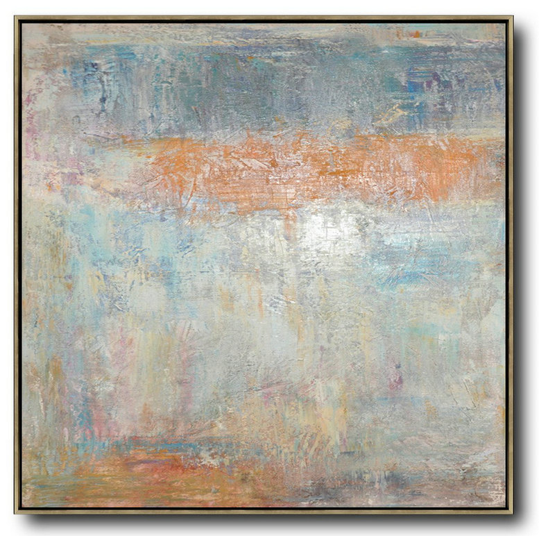 Huge Abstract Painting On Canvas,Oversized Contemporary Art,Modern Art Abstract Painting,Taupe,White,Orange,Yellow,Grey.etc