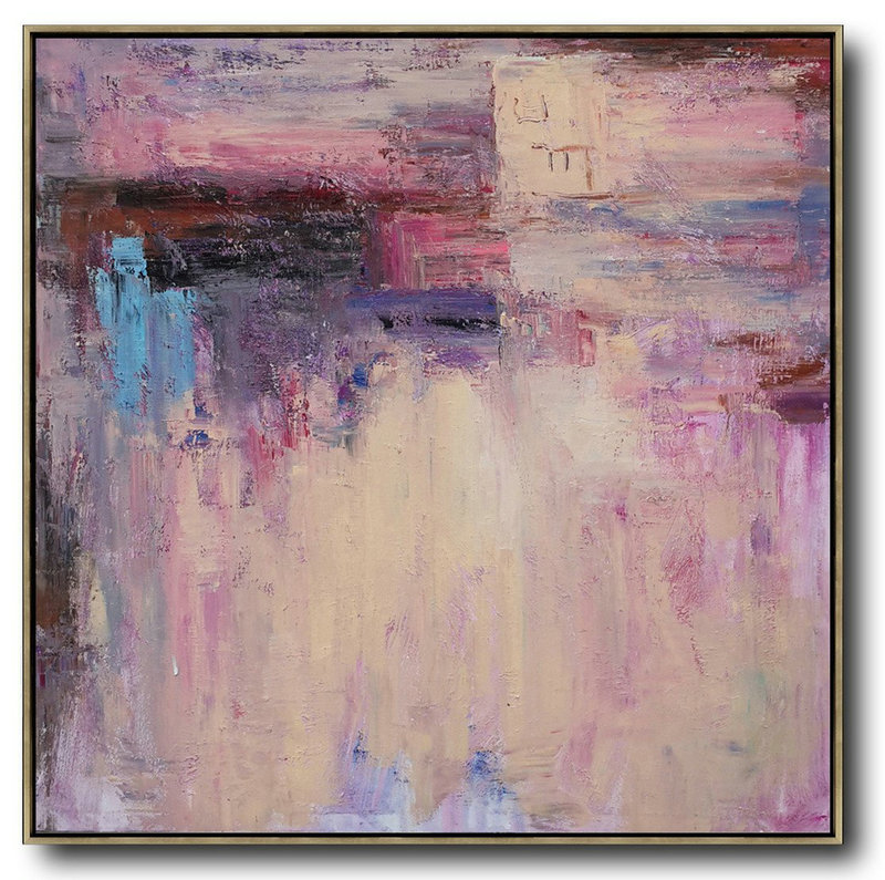 Extra Large Acrylic Painting On Canvas,Oversized Contemporary Art,Abstract Art Decor Large Canvas Painting,Pink,Nude,Blue,Purple.etc