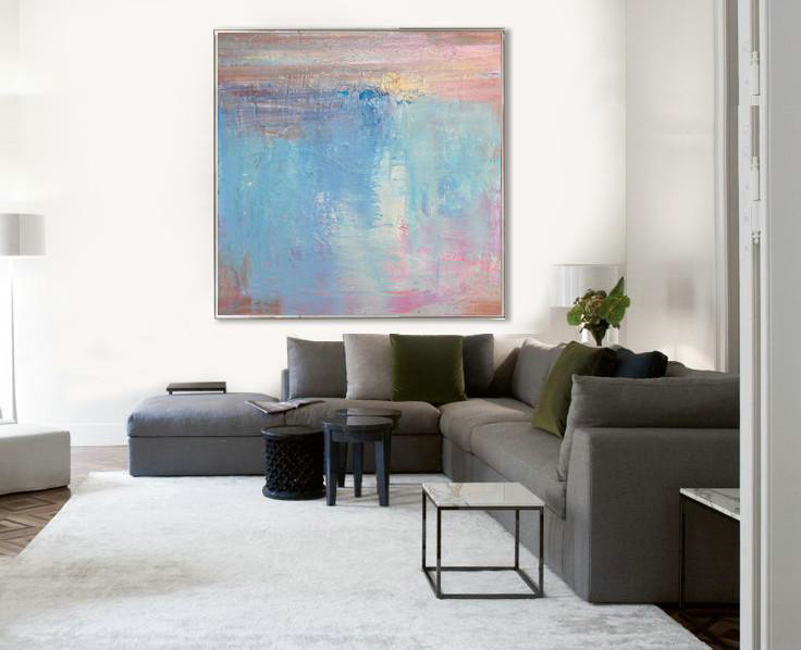Large Abstract Painting On Canvas,Oversized Contemporary Art,Abstract Art On Canvas, Modern Art,Pink,Blue,White,Taupe.etc