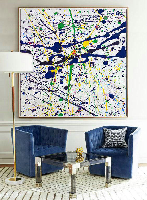 Large Abstract Art,Oversized Contemporary Art,Extra Large Artwork,Blue,White,Yellow,Green.etc - Click Image to Close