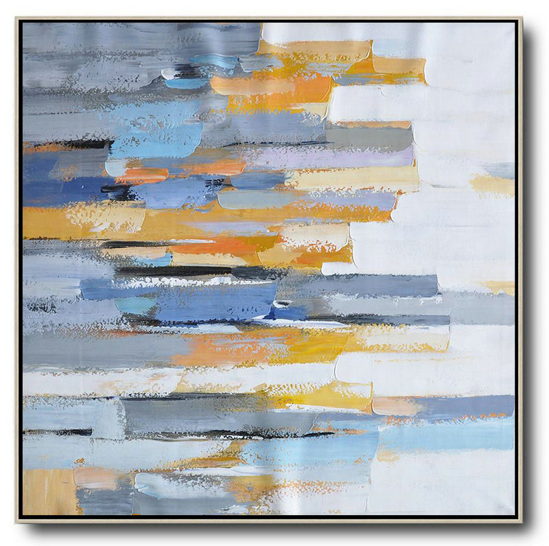 Original Extra Large Wall Art,Oversized Contemporary Art,Huge Canvas Art On Canvas,White,Yellow,Blue,Grey,Orange.etc