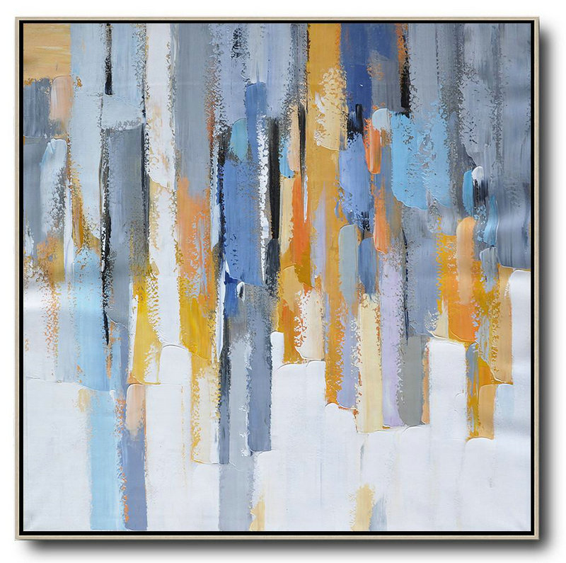 Handmade Large Contemporary Art,Oversized Contemporary Art,Large Paintings For Living Room,White,Yellow,Blue,Grey,Orange.etc
