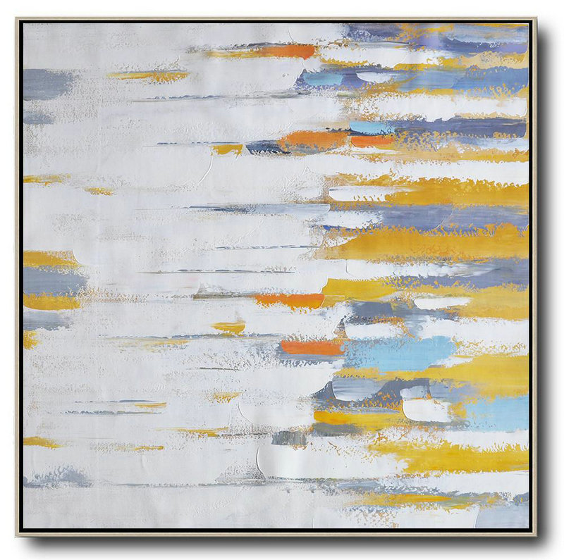 Large Abstract Art Handmade Painting,Oversized Contemporary Art,Extra Large Paintings,White,Yellow,Grey,Orange.etc