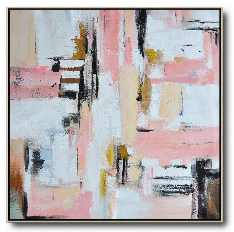 Original Artwork Extra Large Abstract Painting,Oversized Contemporary Art,Abstract Paintings On Sale,Pink,White,Yellow,Brown.etc