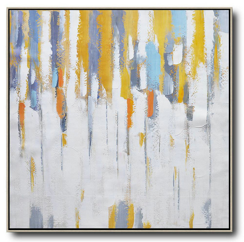 Handmade Painting Large Abstract Art,Oversized Contemporary Art,Big Art Canvas,White,Yellow,Grey,Orange.etc
