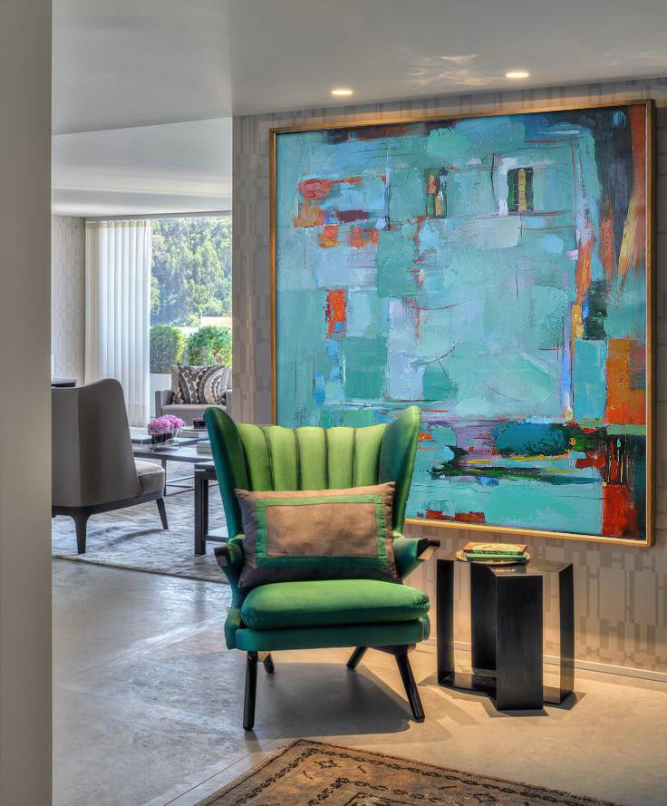 Extra Large Painting,Oversized Contemporary Art,Acrylic Painting Wall Art,Green,Blue,Red,Orange.etc