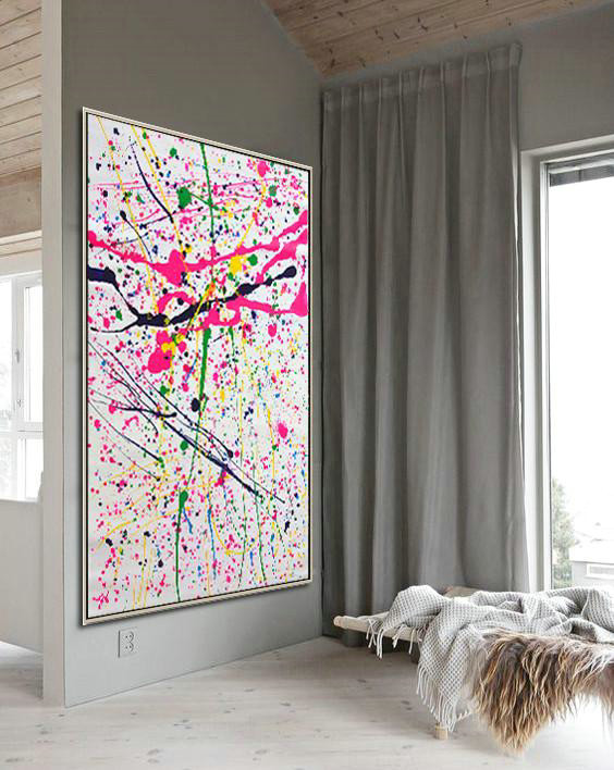 Handmade Painting Large Abstract Art,Vertical Palette Knife Contemporary Art,Large Wall Art Home Decor,Pink,White,Black,Yellow,Green.etc