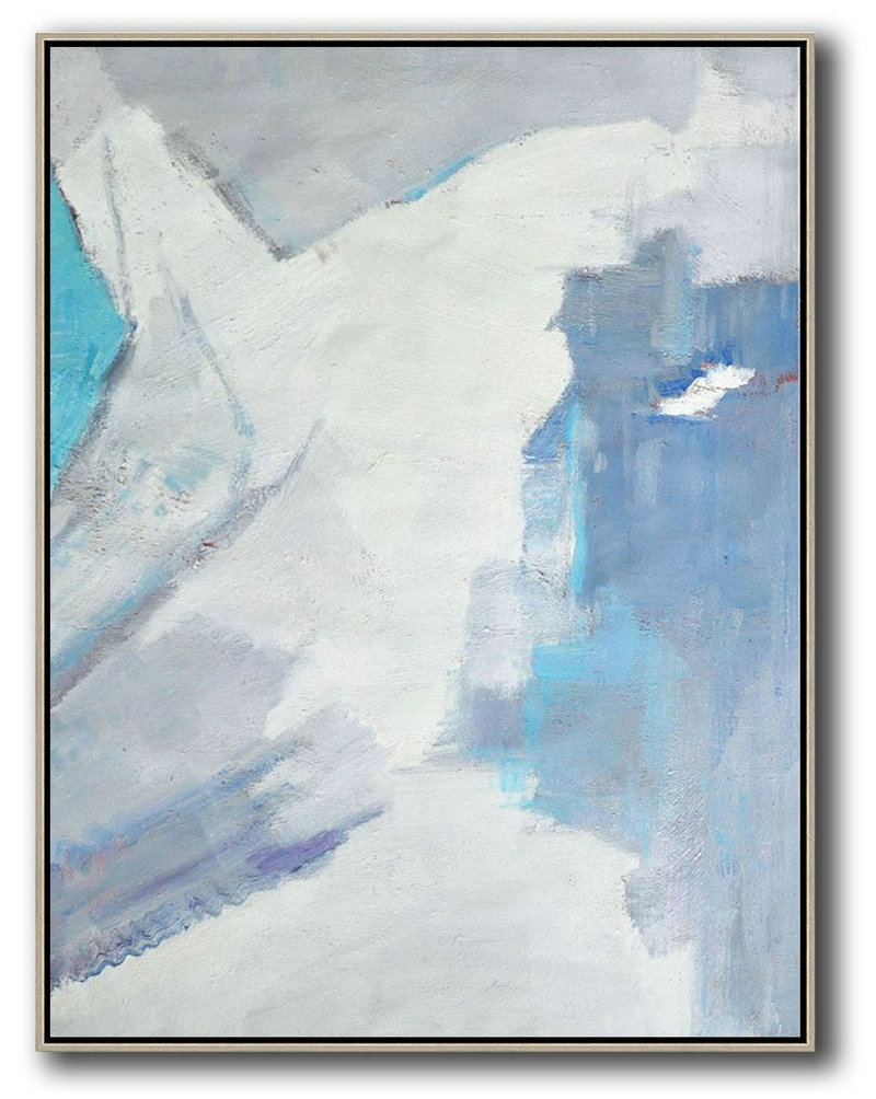 Hand Painted Abstract Art,Vertical Palette Knife Contemporary Art,Hand Painted Original Art,White,Grey,Sky Blue.etc